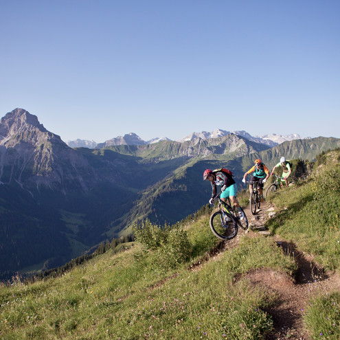 Mountainbiker at the Walmendingerhorn | © Kleinwalsertal Tourismus eGen | Photographer: Dennis Stratmann